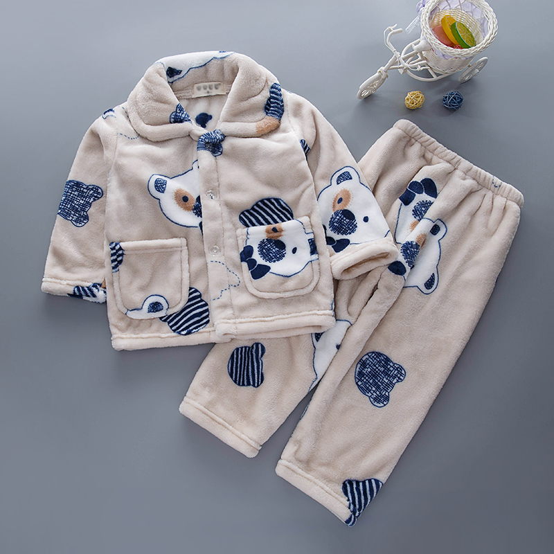 儿童睡衣男孩冬秋季法兰绒男童女童加厚珊瑚绒套装小孩宝宝家居服