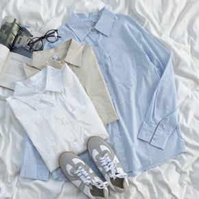RENA极简淡蓝色单口袋慵懒风翻领排扣纯色宽松简约百搭长袖衬衫