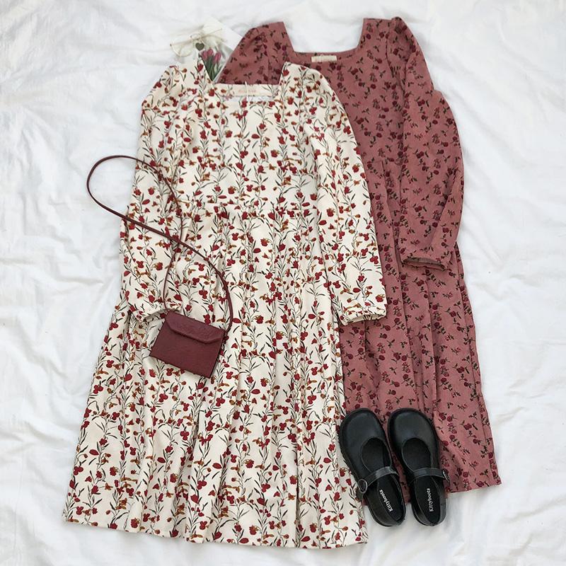RENA店主推荐浪漫复古秋冬气质方领红色小碎花中长款长袖连衣裙