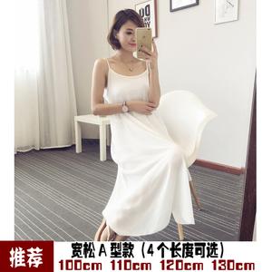 夏季内搭雪纺衬裙长款背心裙宽松大码吊带裙单层吊带打底裙A型裙