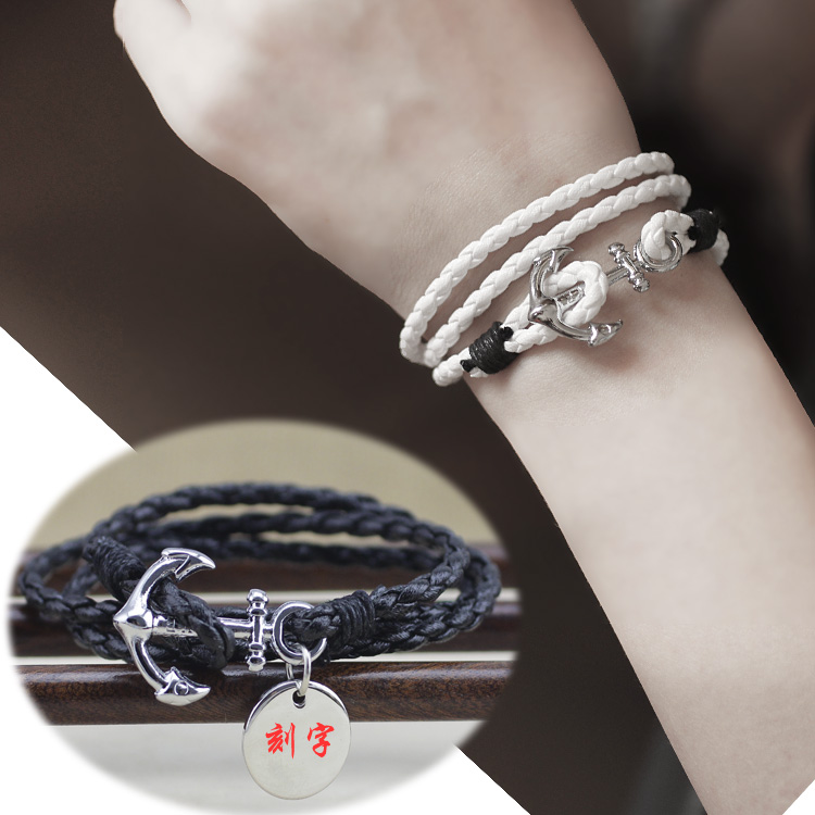 Retro fashion jewelry boys black multi-layer leather rope boat anchor Bracelet mens hand rope Korean couples hand accessories fashion