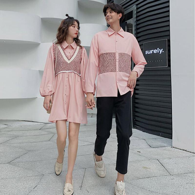 满89.00元可用20元优惠券同色系创意情侣装秋装新款韩版衬衫