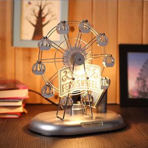 有熊氏太阳能摩天轮旋转八音盒音乐盒巴黎埃菲尔铁塔摆件生日礼物