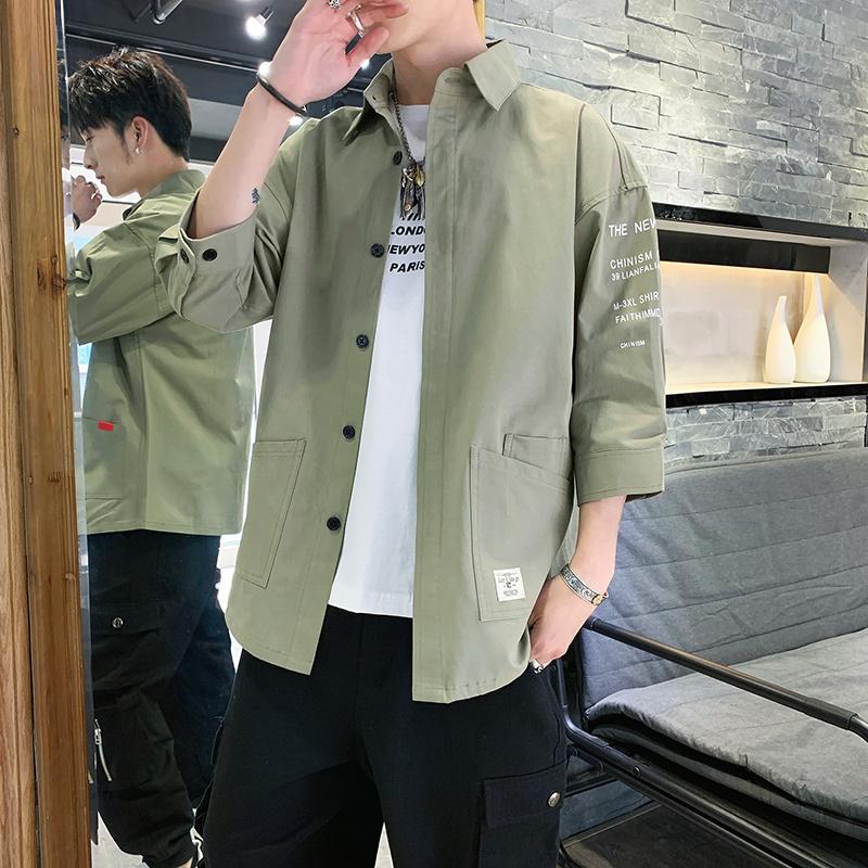 衬衫男秋季潮流韩版工装帅气七分短袖牛仔衬衣长袖宽松休闲外套潮