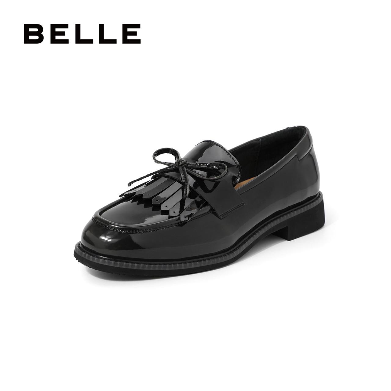 百丽英伦风商场新款流苏漆皮68011小皮鞋