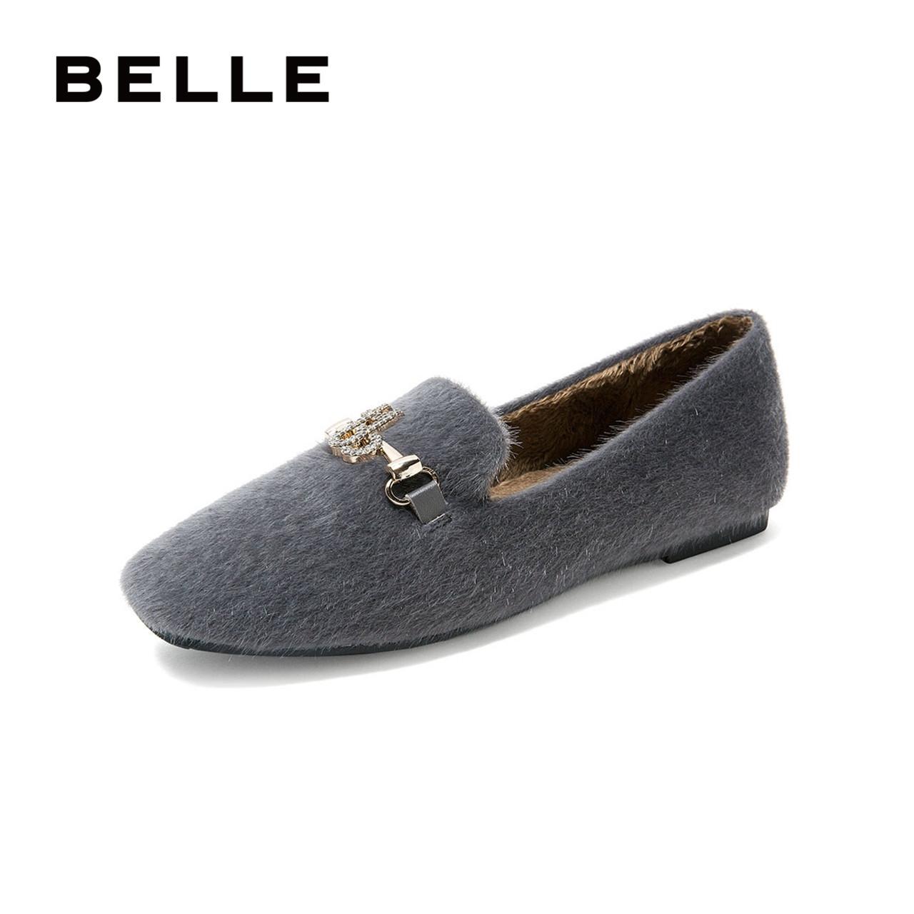 百丽平底商场同款闪钻舒适绒面单鞋