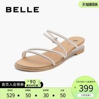 查看百丽气质凉鞋女2021夏新女商场同款钻带仙女拖鞋外穿W4F2DBL1价格