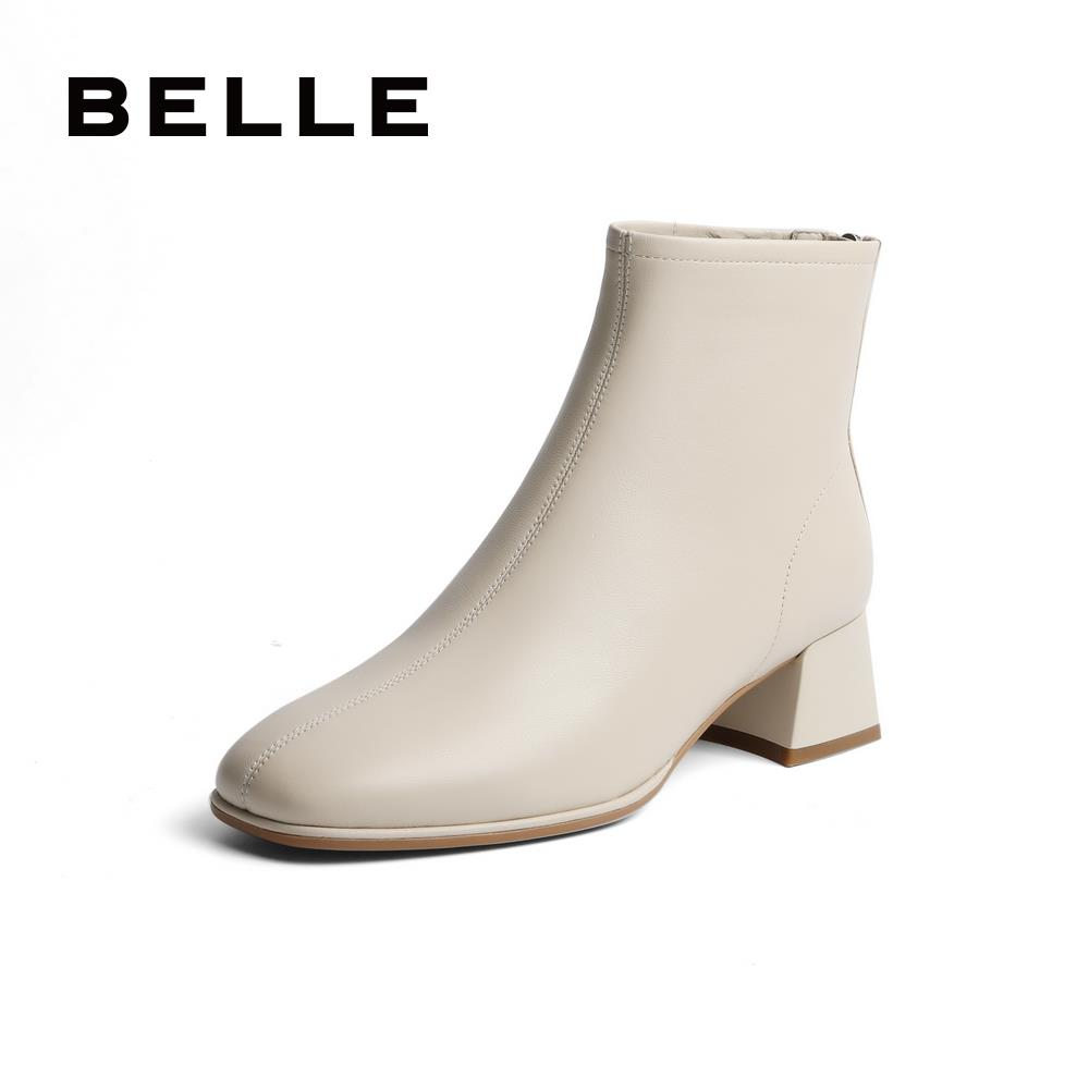 Belle thick heel leather short boots women 2020 winter new mall the same British sheepskin thin boots plus cashmere V7R1DDD0 pre