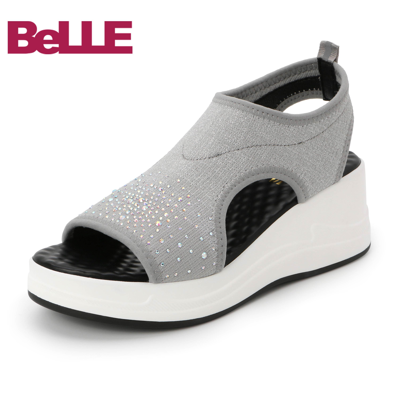 百丽商场同款水钻坡跟凉鞋