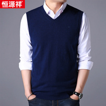 Hengyuanxiang wool vest male V-neck thick autumn and winter wear sleeveless knit sweater vest wool sweater casual vest