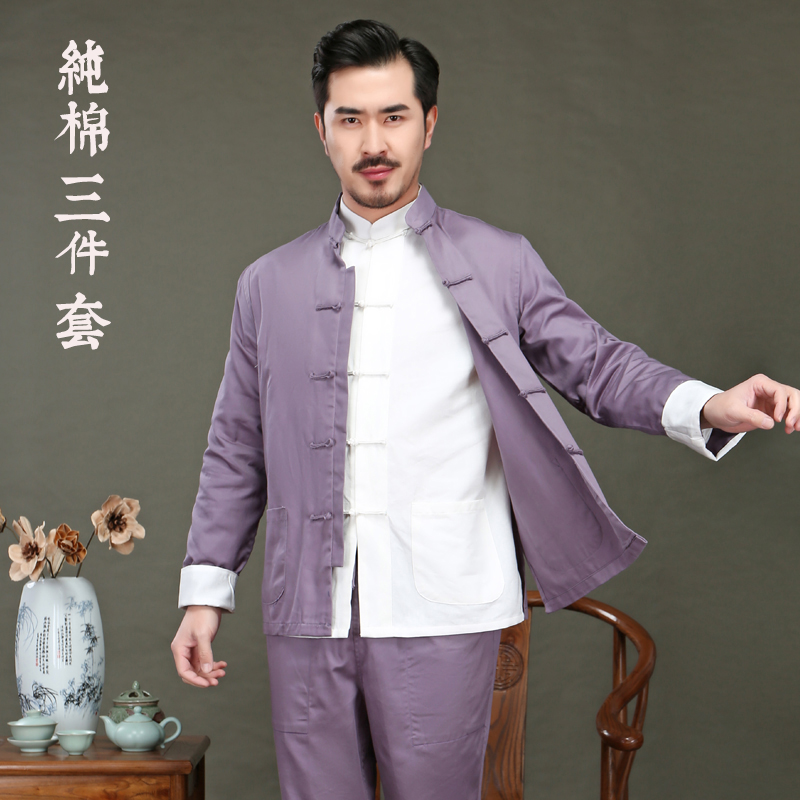 男士唐装青年中国风外套三件套装198.00元包邮