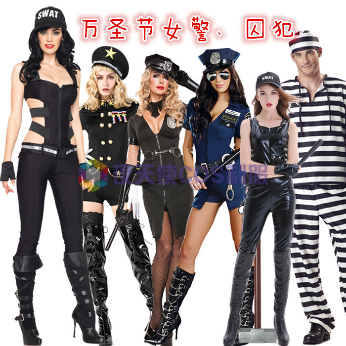 Halloween Costume Black and white lovers striped prison uniform police uniform male and female prisoners clothing prisoners clothing