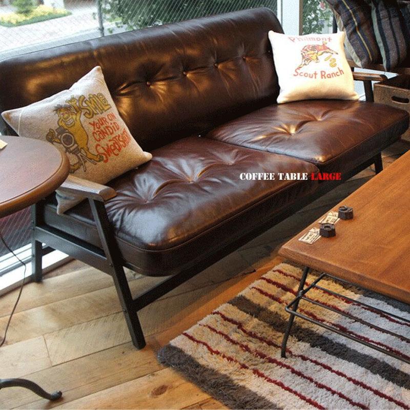 美式loft工業風復古做舊理髮服裝店鋪小雙人皮鐵藝咖啡店沙發組合