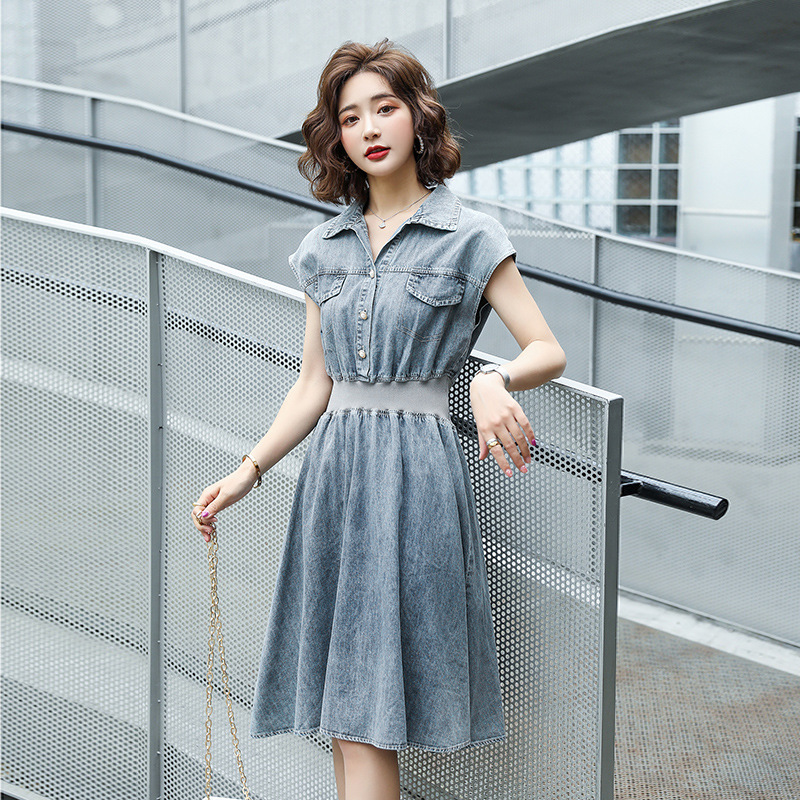 Stitched sleeveless denim dress new summer simple casual polo collar solid medium length one-piece A-line skirt