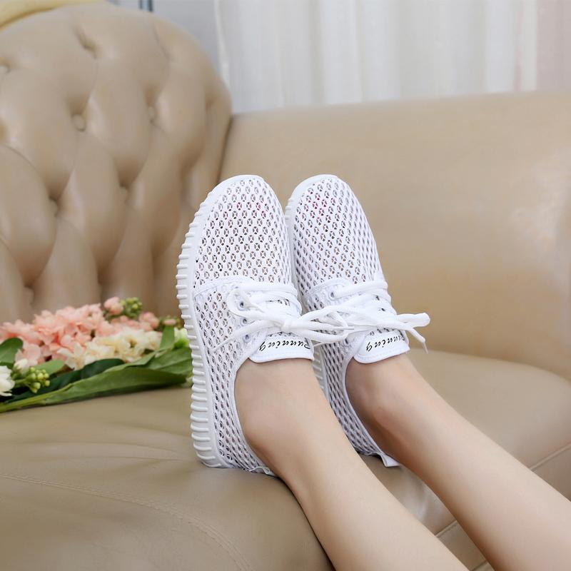 夏季新款运动鞋女鞋休闲跑步鞋透气女网鞋韩版平底网面系带女单鞋