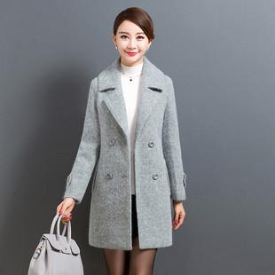秋冬装新款双排扣加厚毛呢外套女中长款40岁中年气质妈妈妮子大衣
