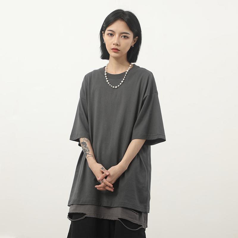 纯色oversize短袖t恤男灰色打底衫宽松白色纯棉五分半袖潮牌夏季