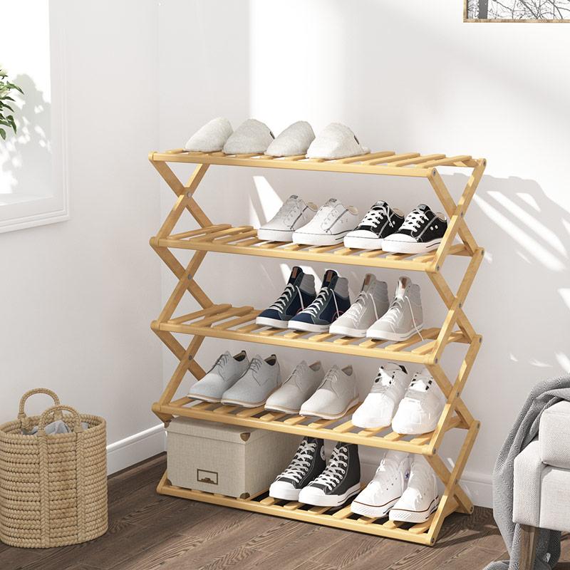 折叠竹鞋柜门口家用多层鞋架子简易宿舍收纳置物架免安装经济型28.00元包邮