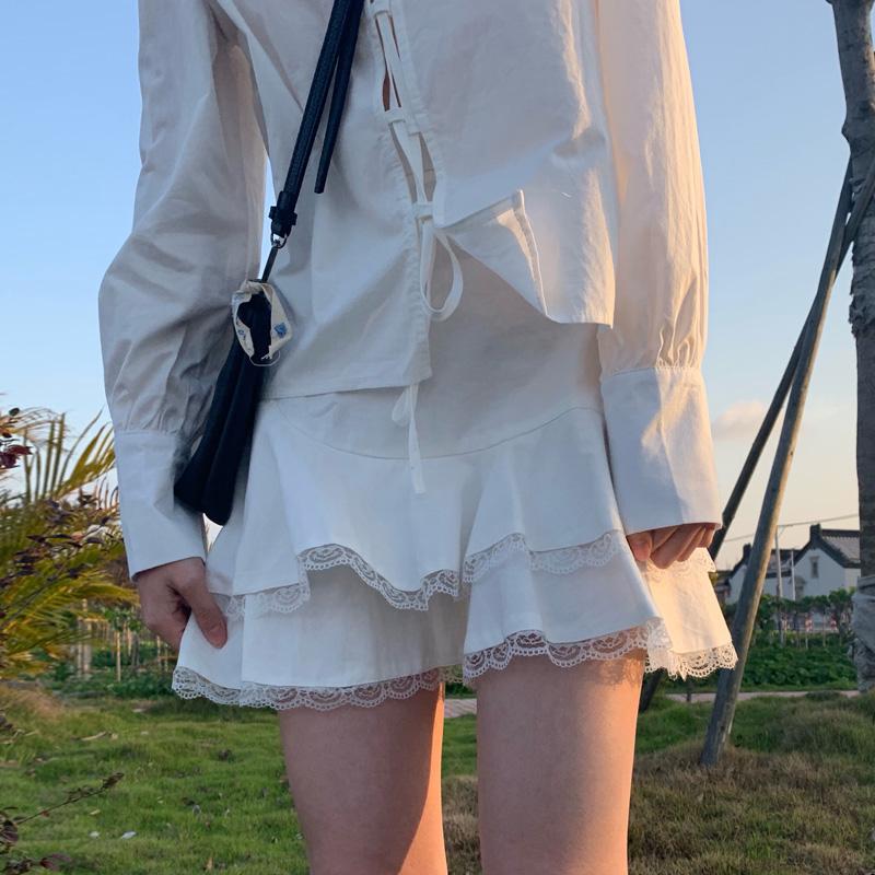 自制日系甜美高腰半身裙女a字ins复古学生软妹可爱蕾丝蛋糕jk短裙