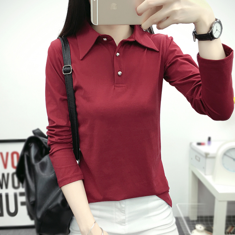 Autumn 2020 new womens top pure cotton long sleeve T-shirt with lead early autumn T-shirt Lapel spring and autumn bottoming shirt