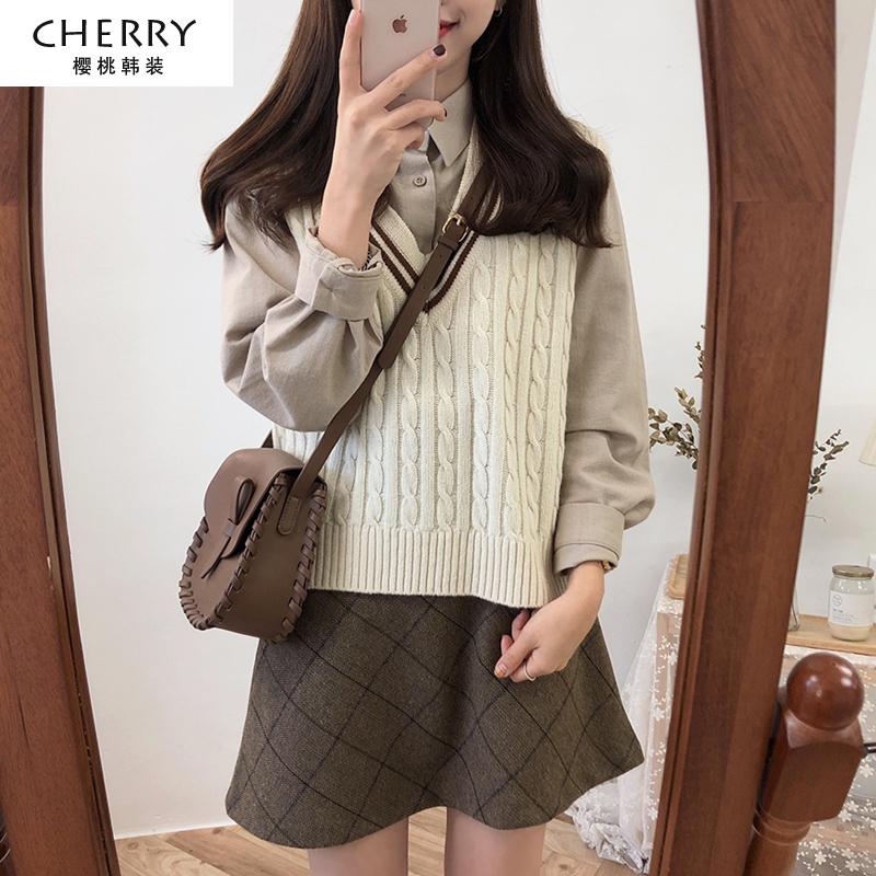 秋冬季韩版套装冬裙子毛衣马甲背心加衬衫两件套女学生学院风衬衣