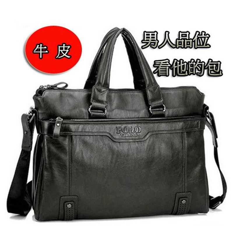 Mens bag handbag business leisure mens bag business document bag cowhide Korean cowhide Simple Shoulder Bag
