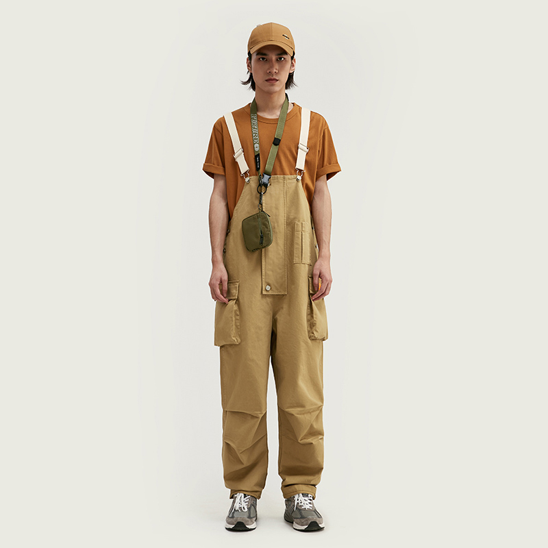 Hyest2020 spring and summer new fashion brand richao Guochao three dimensional multi bag trousers with strap splicing pants suspender pants for men