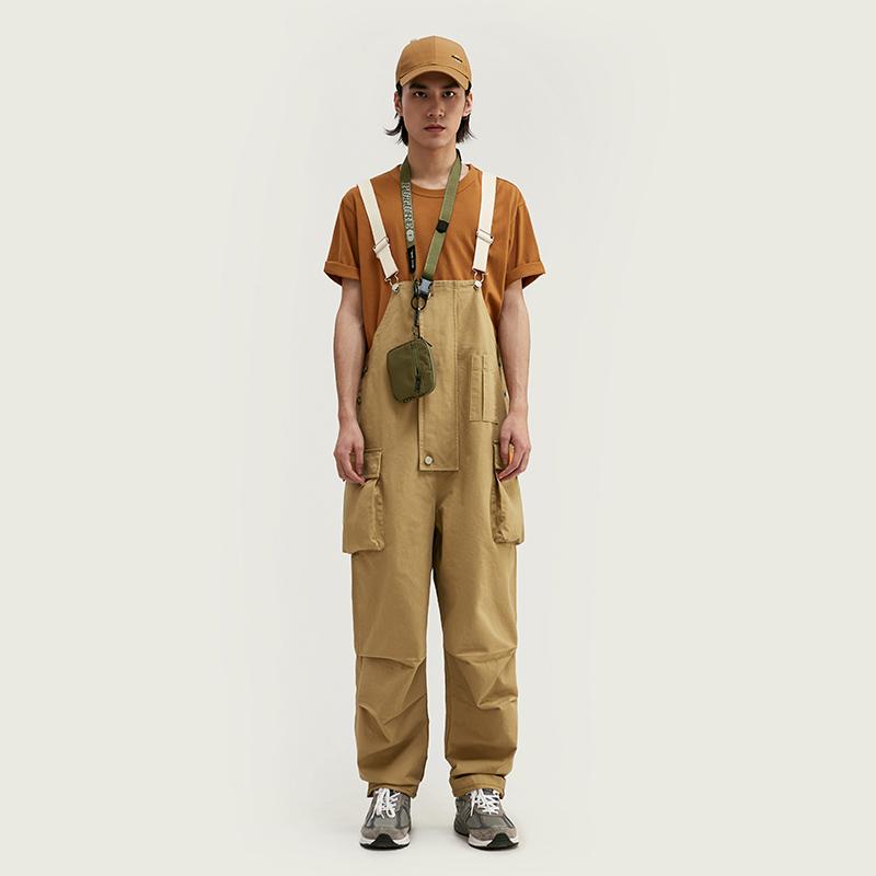 HYEST2020春夏新款潮牌日潮国潮立体多袋长裤背带拼接裤吊带裤男