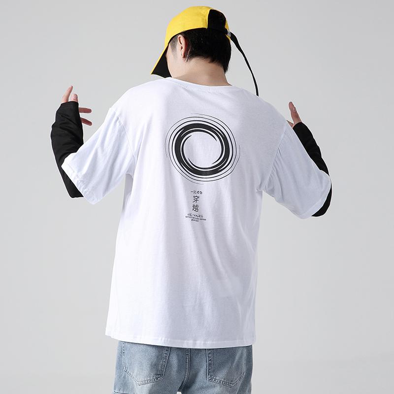 2021秋季新款男假两件印花大码长袖t恤 A013- WY02-P50 无影墙