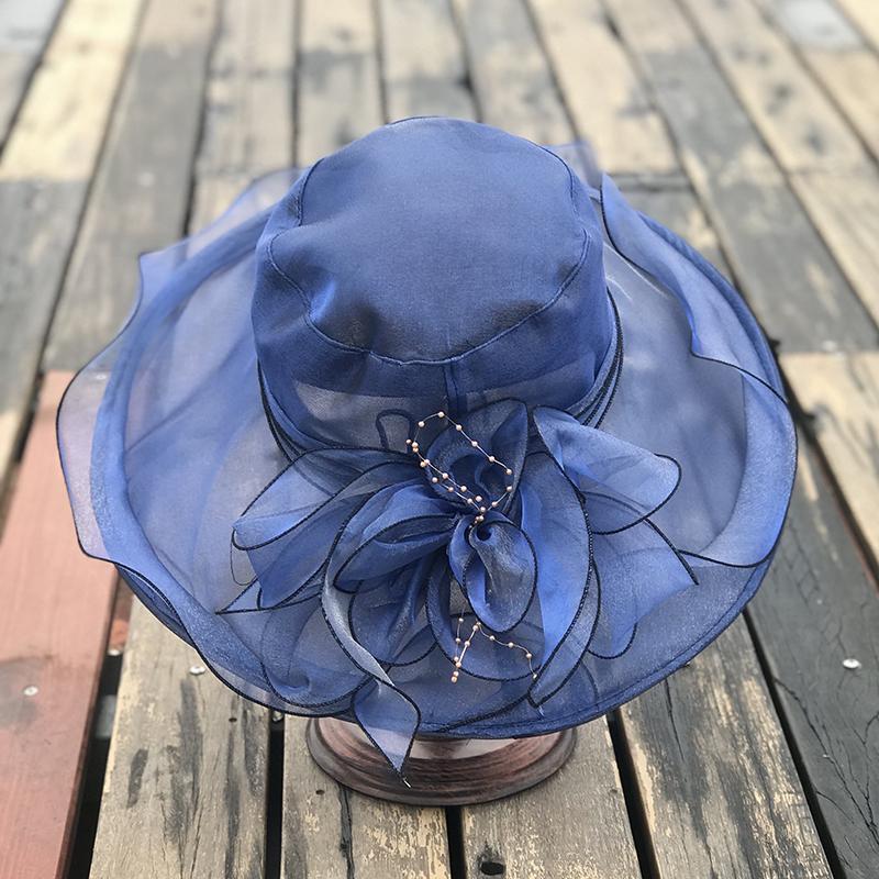 热销63件五折促销出游夏季折叠防紫外线欧根纱遮阳帽