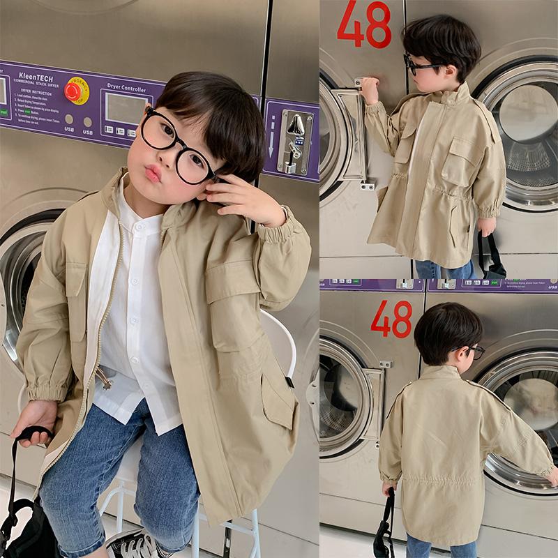 棉小班男童风衣外套中长款韩版休闲2020春秋男童洋气上衣儿童夹克