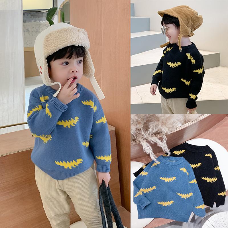 棉小班童装男宝宝加厚毛衣洋气韩版儿童恐龙提花针织衫男童套头衫