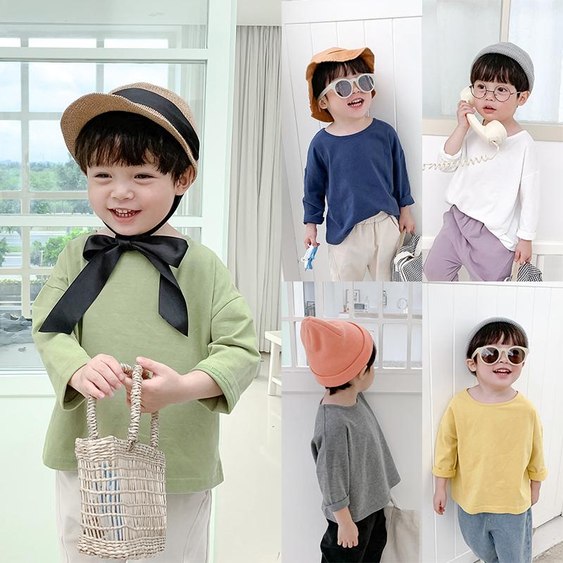 需要用券棉小班男童秋装T恤2019新款韩版儿童纯色休闲打底衫宝宝洋气上衣