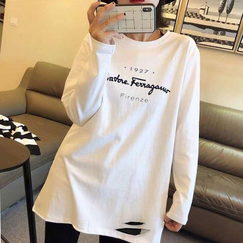 4008#官图白色纯棉春夏新款破洞长袖上衣韩版时尚宽松卡通印花T恤