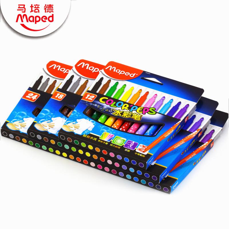 MAPED馬培德繪畫水彩筆 12色18色24色套裝兒童無毒可水洗彩色畫筆