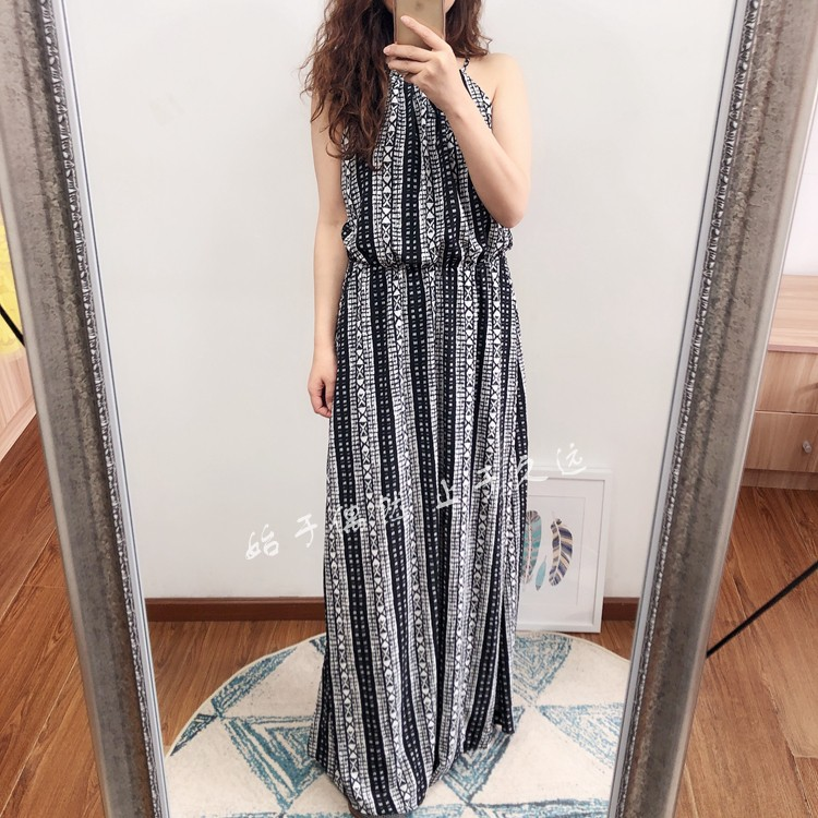 Deconstructing avant garde fashion 2020 spring and summer striped print dress loose and thin lace up long skirt