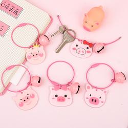创意可爱卡通钢丝ins汽车钥匙链韩国少女心小猪钥匙圈包包挂件饰