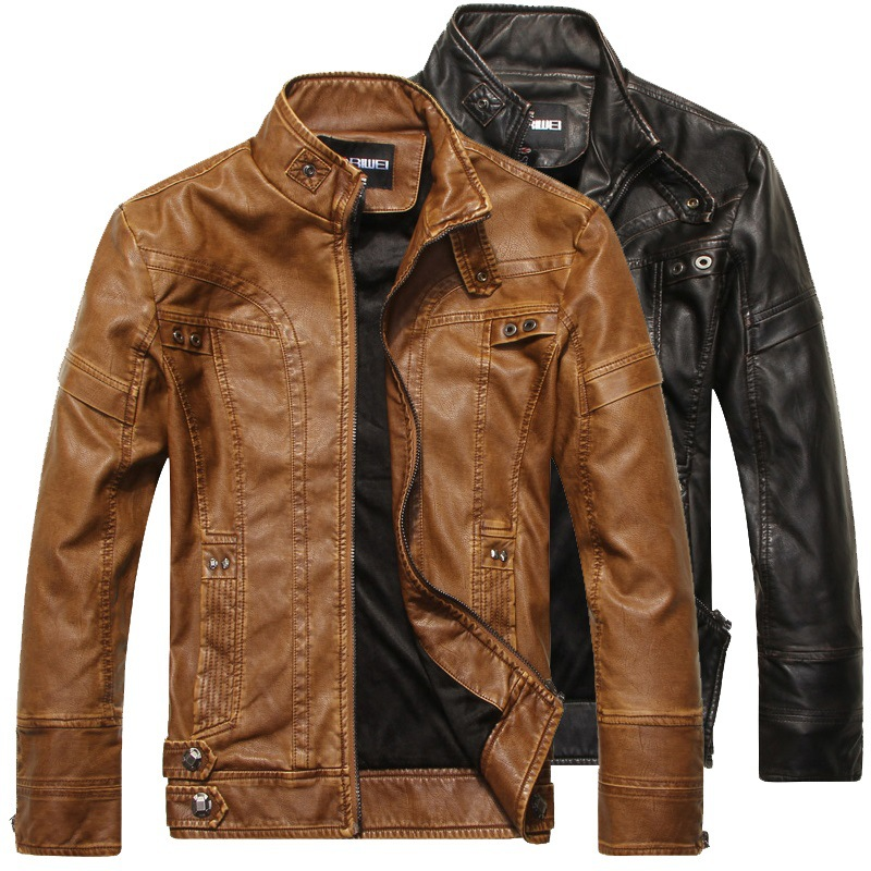 New plush leather coat, foreign trade cattle leather coat, motorcycle racing suit, young handsome, winter handsome mens PU jacket