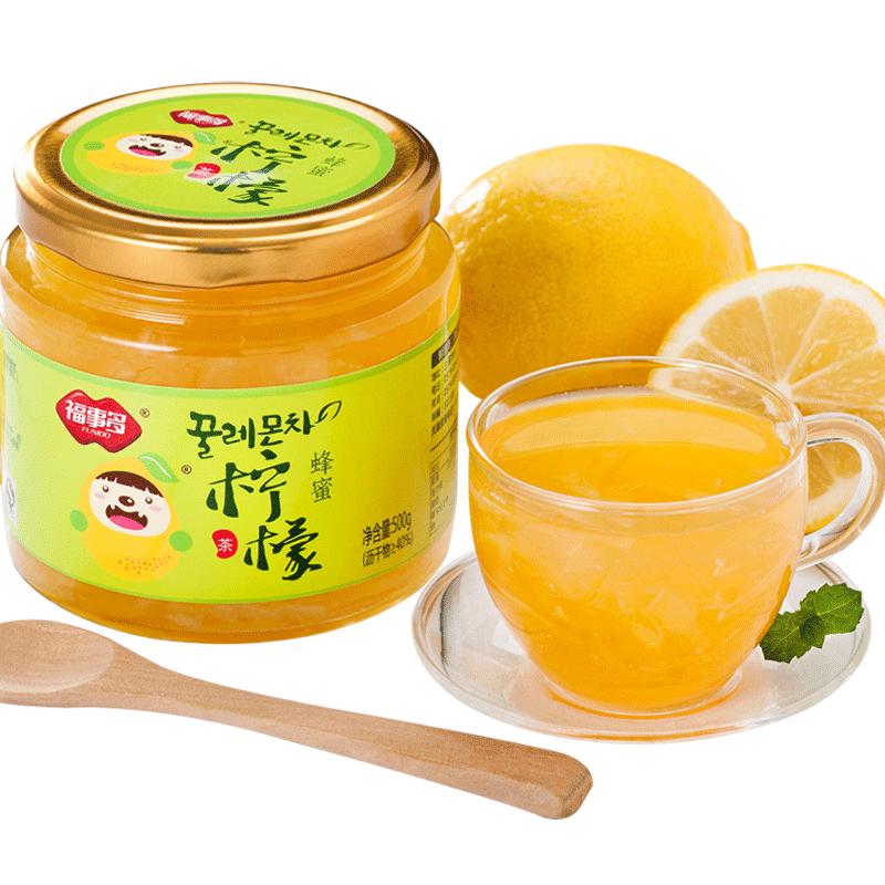 買2送杯勺 福事多蜂蜜檸檬茶500g 韓國風果味茶醬衝飲飲品衝水喝