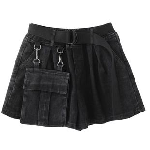 胖妹妹短褲女秋冬季個性大口袋黑色加厚牛仔褲顯瘦百搭a字闊腿褲