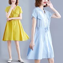 大码女装微胖MM宽松V领收腰系带连衣裙显瘦短袖A字裙2019夏装新款