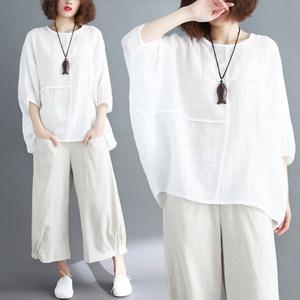 大码女装夏装胖mm拼接纯色蝙蝠袖宽松遮肚子显瘦棉麻上衣女t恤衫