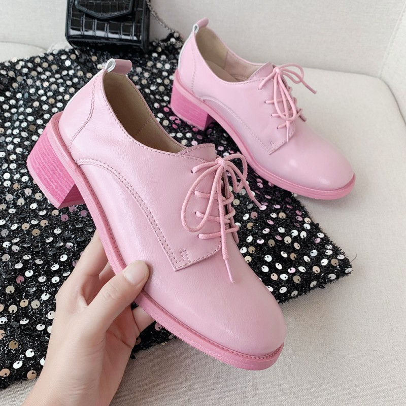 2021 spring low top shoes new middle heel thick heel Princess Pink real inside and outside full leather single shoes round head lace up womens shoes