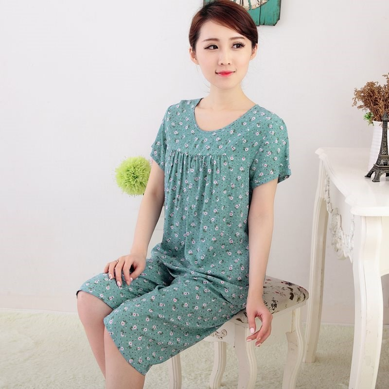 Mothers pajamas, womens summer silk, middle-aged and old peoples grandmothers mother-in-laws two pieces of flower washing cloth