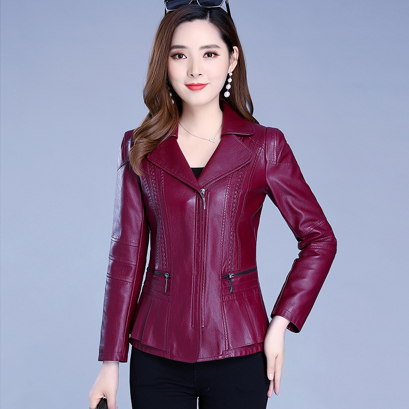 Middle aged and old spring and autumn leather short 30-40-50 new fashion middle aged womens mothers jacket