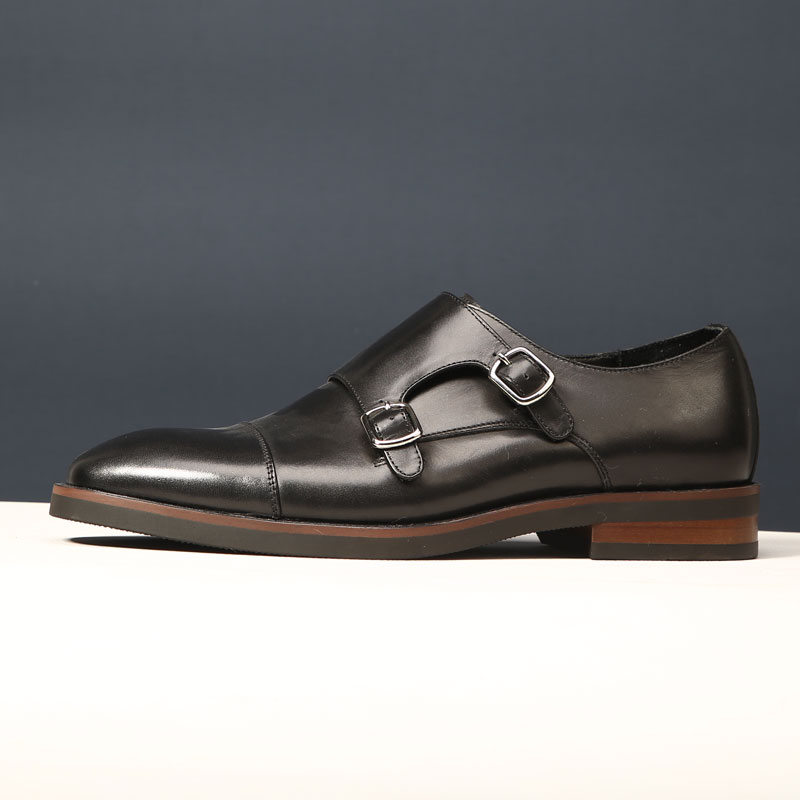 Mens shoes British style square head mens business dress leather shoes trend Goodyear handmade buckle mengke monk shoes black