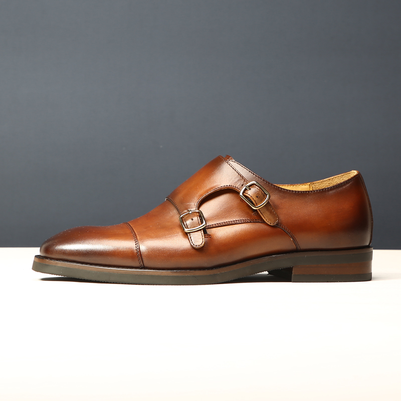 Mens shoes British style square head mens business dress shoes trend Goodyear handmade buckle monk shoes