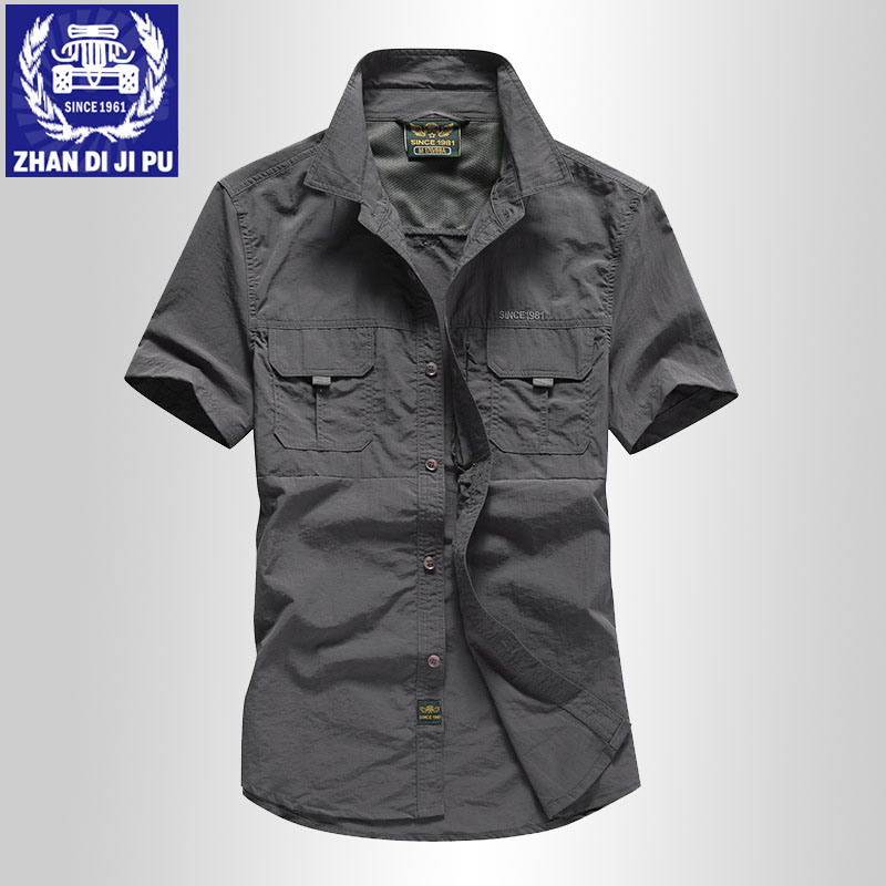 Customized quick drying short sleeve shirt mens summer thin waterproof breathable wear resistant outdoor tooling half sleeve shirt