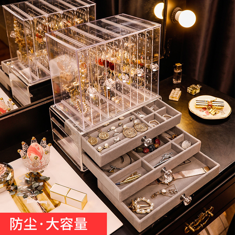 耳环架子展示架家用收纳挂项链耳钉耳饰收纳盒大容量透明首饰盒