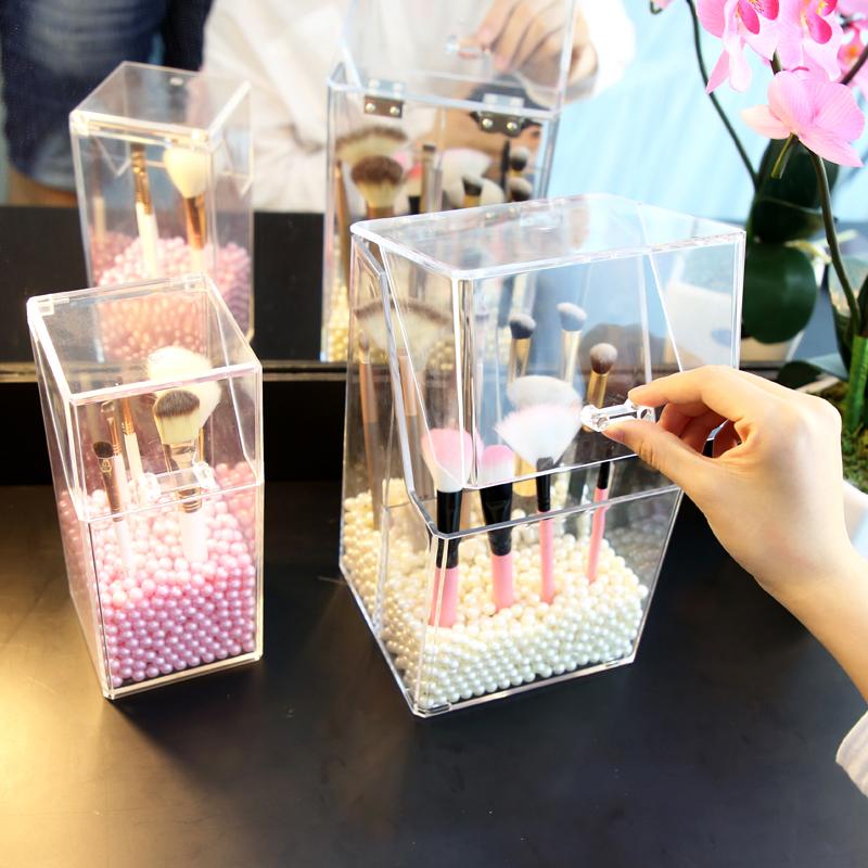 亚加丽加 化妆刷收纳筒透明美妆刷子桶收纳盒翻盖桌面防尘刷具桶